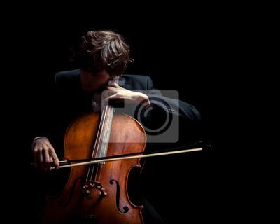 Naklejka Muzyk grający na wiolonczeli