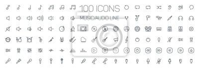 Naklejka muzyka, audio, uniwersalne cienka linia 100 zestaw ikon na białym tle, dźwięk, minimalistyczna, płaskie