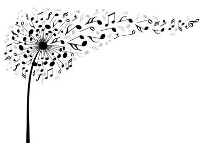 Naklejka muzyka dandelion kwiat, ilustracji wektorowych