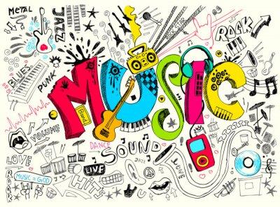 Naklejka Muzyka Doodle