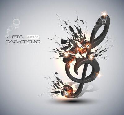 Naklejka Muzyka Uwaga Melody Tła
