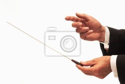 Naklejka Muzyka z rąk dyrygent batutą