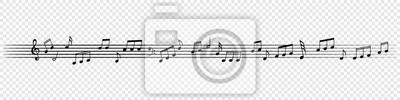 Naklejka Muzyka zauważa dekoracyjne tło melodii. Wektor muzyczny plakat linii personel notatki dla szkoły banner lub orkiestry projekt bannera koncertowego