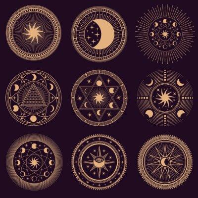 Naklejka Mystic circle symbols. Vector illustration set. Astrology moon and pyramid, eclipse spirituality, freemasonry mysterious collection round emblems