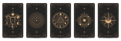 Naklejka Mystic frame card. Vector illustration set. Divination and prediction cards with emblem mysterious, spirituality esoteric, masonic alchemy symbol