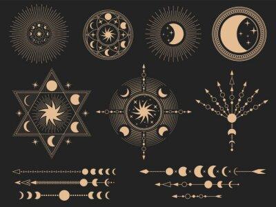 Naklejka Mystic magic symbols. Vector illustration set. Magic mystery tattoo, spirituality esoteric occult masonic, freemasonry linear symbol
