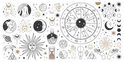 Naklejka Mystical astrology, boho celestial and magic occult elements. Sacred mystic moon, sun, star, zodiac symbols and constellation vector set. Mystical and esoteric elements for astrology