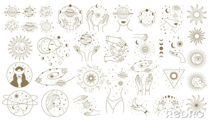 Naklejka Mystical astrology elements. Magical space objects, planets, stars with female hands and faces vector illustration set. Minimalist woman cosmic objects
