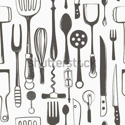 Naklejka Naczynia kuchenne bez szwu wektor odręczny wzór