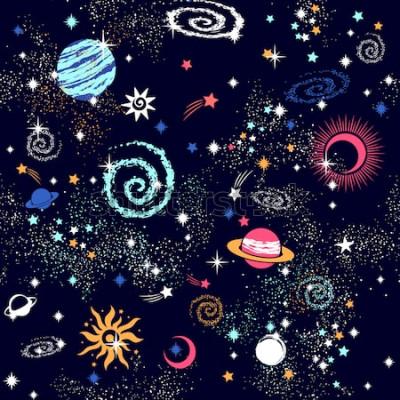 Naklejka Nadruk bez szwu wzoru konstelacji kosmicznej galaktyki może być zastosowany do tkaniny, maty do jogi zodiaku, etui na telefon