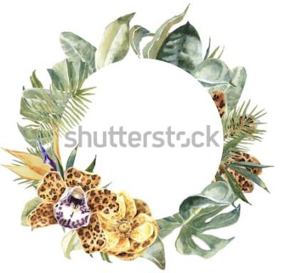 Naklejka Nadruk ze skóry zwierząt orchidei, tropikalne liście Ramka Okrągły egzotyczny wieniec kwiatowy. Lampart z nadrukiem kwiatowym Obramowanie
