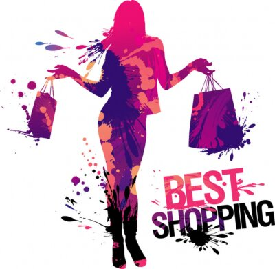 Naklejka Najlepsze zakupy, Ilustracja z dziewczyną i odpryski .