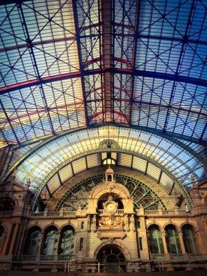 Naklejka Najwięcej architektura w dworca kolejowego w Antwerpii