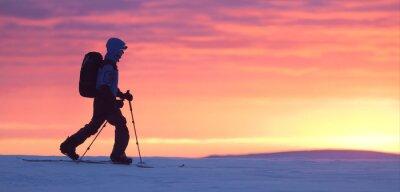 Naklejka Narciarz chodzenia po górach