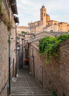 Naklejka Narrow alley in the city center of Urbino