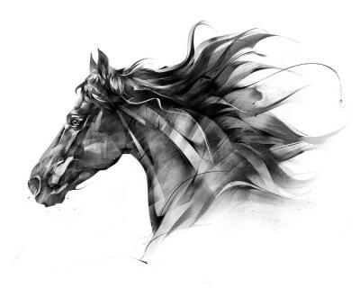 Naklejka naszkicuj portret boczny profilu konia na białym tle