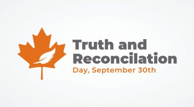 Naklejka national day of truth and reconciliation modern creative banner, design concept, social media post with white text on an orange background