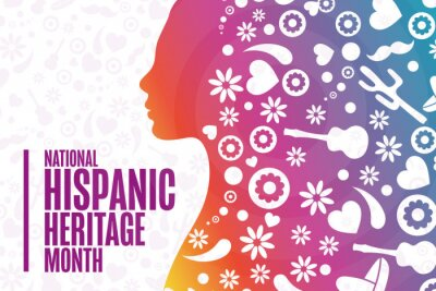 Naklejka National Hispanic Heritage Month. Holiday concept. Template for background, banner, card, poster with text inscription. Vector EPS10 illustration.