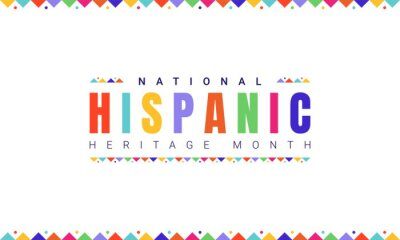 Naklejka National Hispanic Heritage Month horizontal banner template with colorful text and flags on white background. Influence of Latin American heritage on a world culture
