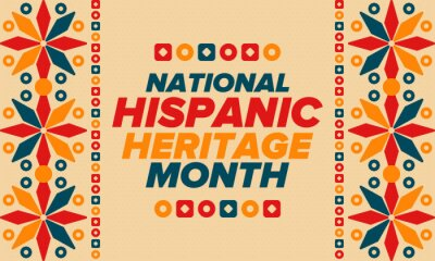 Naklejka National Hispanic Heritage Month in September and October. Hispanic and Latino Americans culture. Celebrate annual in United States. Poster, card, banner and background. Vector illustration