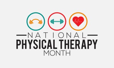 Naklejka National physical therapy month banner design with white background. Vector template