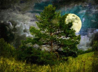 Naklejka Natura krajobraz z drzew i łąki
