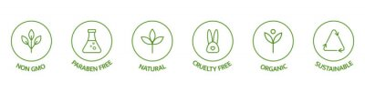 Naklejka Natural cosmetic icons. Beauty badges. Cruelty free, vegan, bio, paraben free, labels. Skincare logo. GMO free emblems. Organic cosmetic line art stickers. Healthy food. Vector illustration