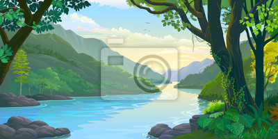 Naklejka Natural window view of the river flowing calmly across dense green tropic forest