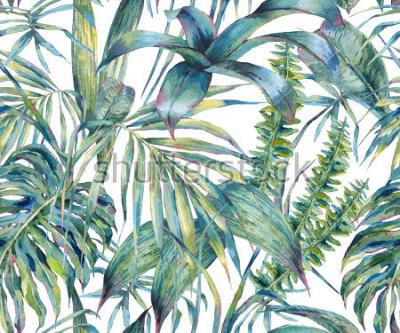 Naklejka Naturalne liście egzotyczny akwarela bezszwowe wzór, zielone liście tropikalne, paproć, gęsta dżungla, ręcznie malowane botaniczne lato ilustracja na białym tle