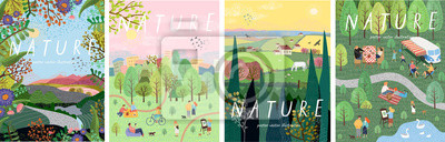 Naklejka Nature. Cute vector illustration of landscape natural background, village, people on vacation in the park at a picnic, forest and trees. Drawings from the hand of summer and spring