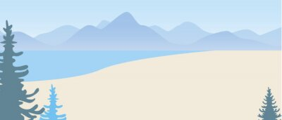 Naklejka Nature mountains and sea, copy space template, flat vector stock illustration with seascape with hills and nobody