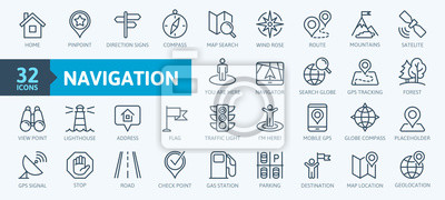 Naklejka Navigation, location, GPS elements -  thin line web icon set. Outline icons collection. Simple vector illustration.