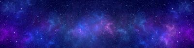 Naklejka Nebula and stars in night sky web banner. Space background.