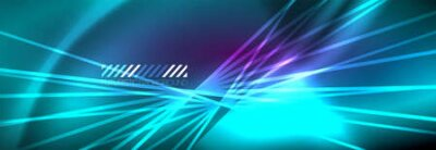 Naklejka Neon dynamic beams vector abstract wallpaper background. Wallpaper background, design templates for business or technology presentations, internet posters or web brochure covers