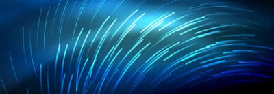 Naklejka Neon glowing lines, magic energy and light motion background. Vector wallpaper template
