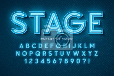 Naklejka Neon light 3d alphabet, extra glowing font.