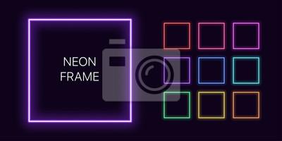 Naklejka Neon monochrome square Border with copy space. Templates set