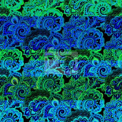 Neon ozdobny wzór z paskiem i Paisley. Deseń