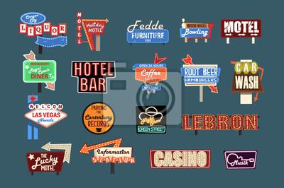 Naklejka Neonowe szyldy, billboardy, kasetony i banery zestaw ilustracji wektorowych