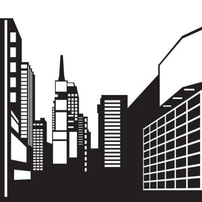 Naklejka New York czarno-biały obraz - ilustracji wektorowych