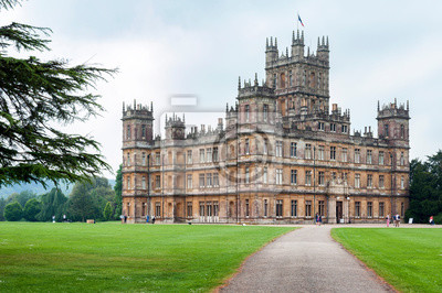 Naklejka NEWBURY, HAMPSHIRE, ENGLAND - MAY 27 2018: Highclere Castle, a Jacobethan style country house, home of the Earl and Countess of Carnarvon. Setting of Downton Abbey - UK