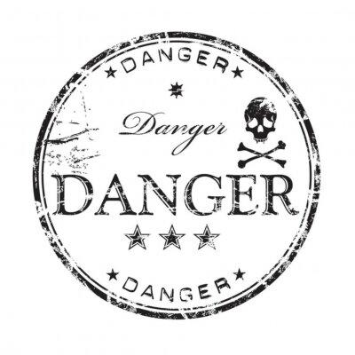 Naklejka Niebezpieczeństwo pieczątka