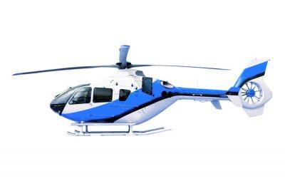 Naklejka niebieski helikopter wyizolowanych biały
