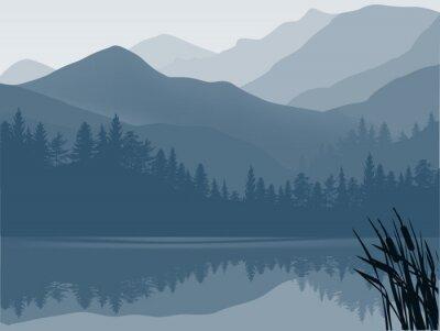 Naklejka niebieski i szary las jezioro w górach