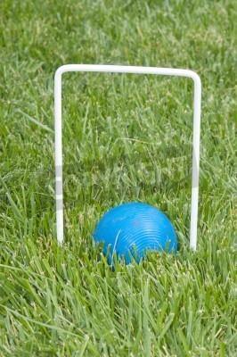 niebieski krokiet Piłka położony w długiej trawie pod obręcz