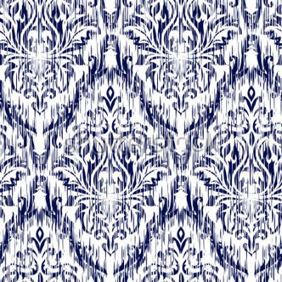 Naklejka Niebieski ornament Ikat Ogee i Damaszek zastosowania tło wzór. Obejmuje tło dla tekstuylnego projektu, tapety, nawierzchniowe tekstury.