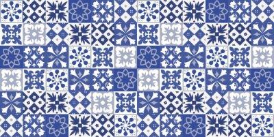 Naklejka Niebieski portugalski deseń płytek - wektor Azulejos, modne płytki wnętrz