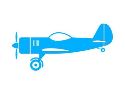 Naklejka Niebieski samolot ikonę na białym tle