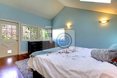 Niebieski Sypialnia Z łóżkiem I Oknem Dachowym Naklejki Redro