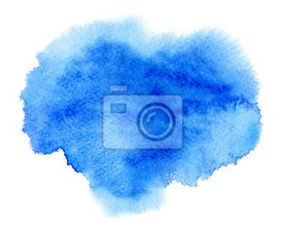 Niebieski tusz akwarela lub farbą koloru plama plama wody